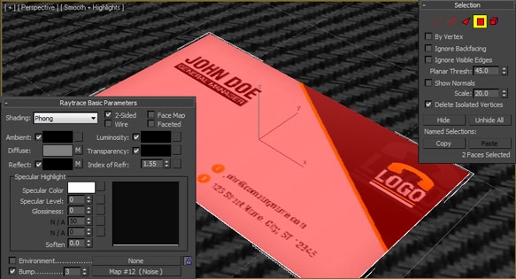 Create a 3d business card mockup in 3d studio max design panoply step 7 with the business card colourmoves