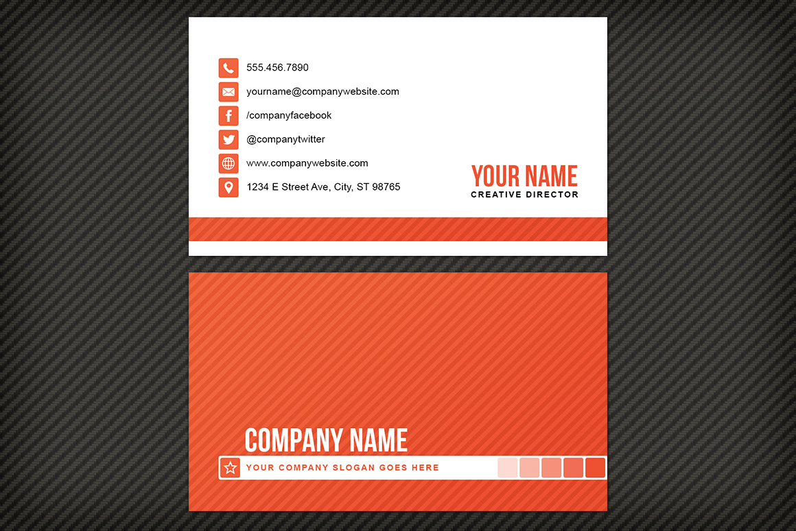 Simple Striped Business Card Template | Design Panoply