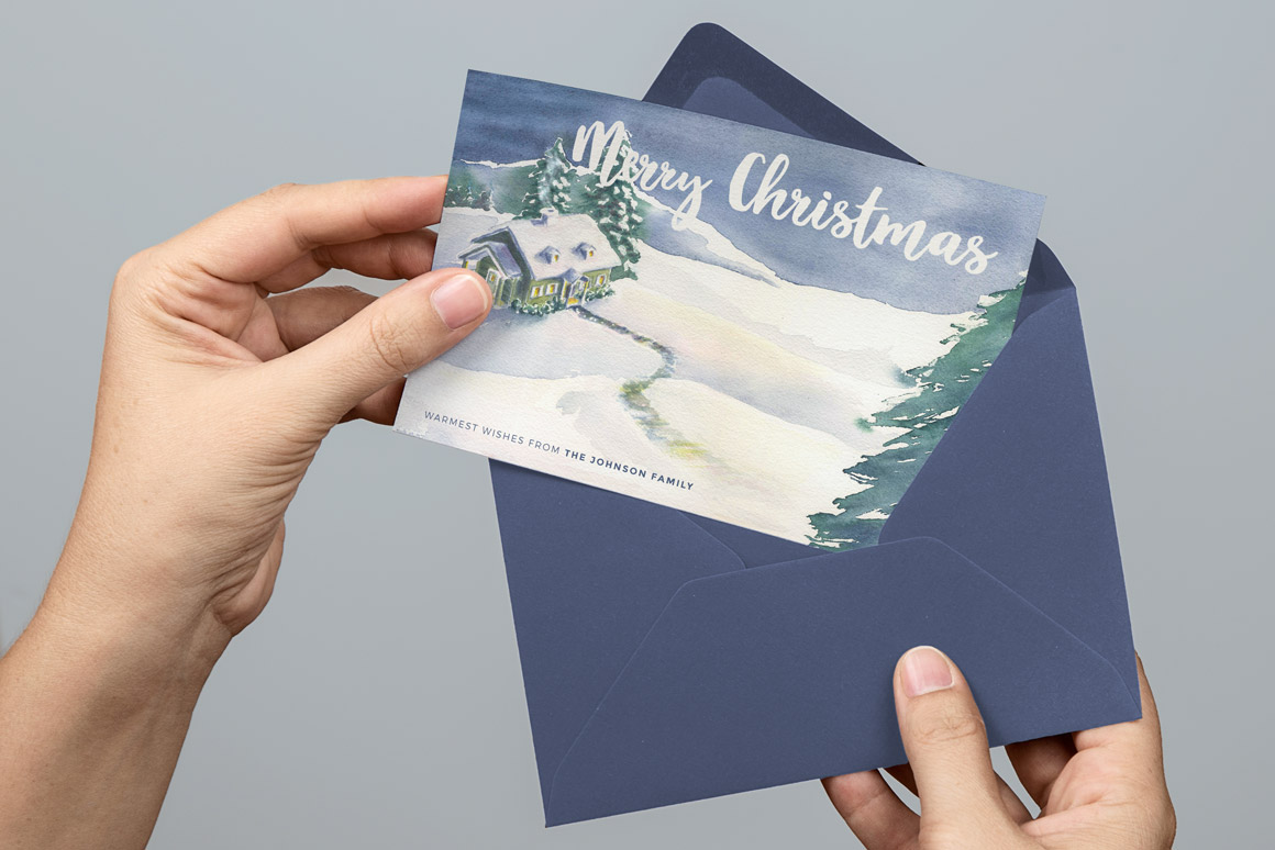 Watercolor Christmas Card Template 4   Design Panoply