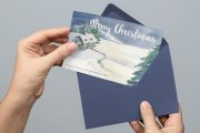 Watercolor Christmas Card Template 4