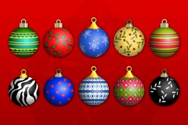 Christmas Ornaments Vector Pack 1