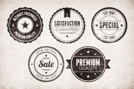 Vintage Circular Badges Vector Pack 2