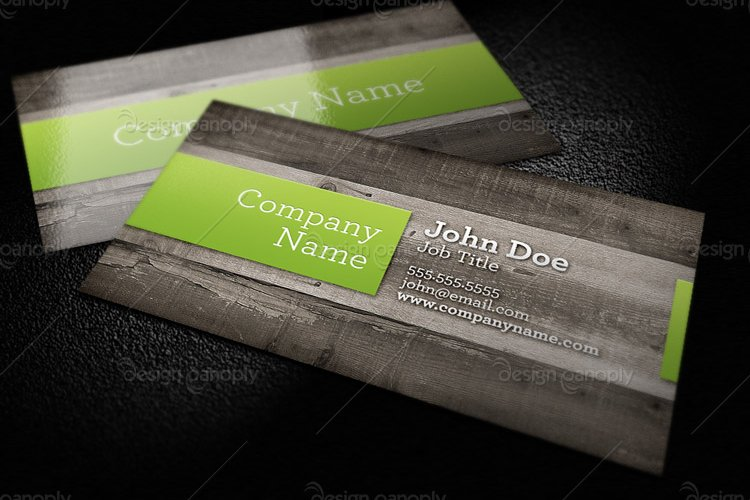 Wood Background Business Card Template 1