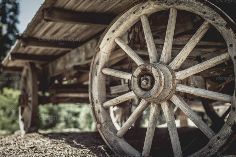 Wooden Wagon Wheel Close Up