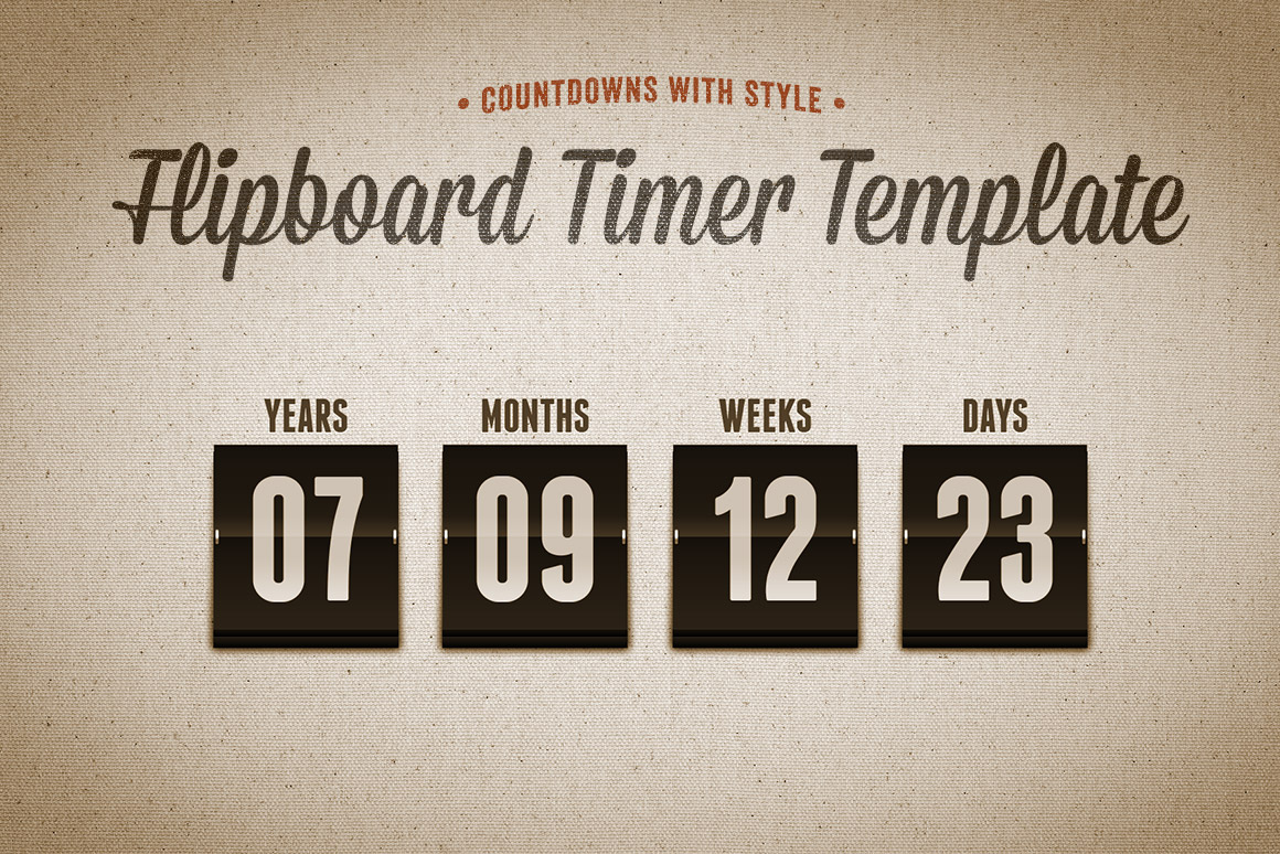 Flipboard Countdown Timer Template | Design Panoply
