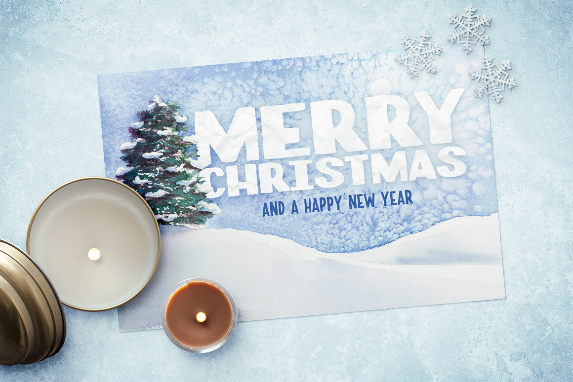 Christmas Card Template.Watercolor Christmas Card Template 1 Design Panoply