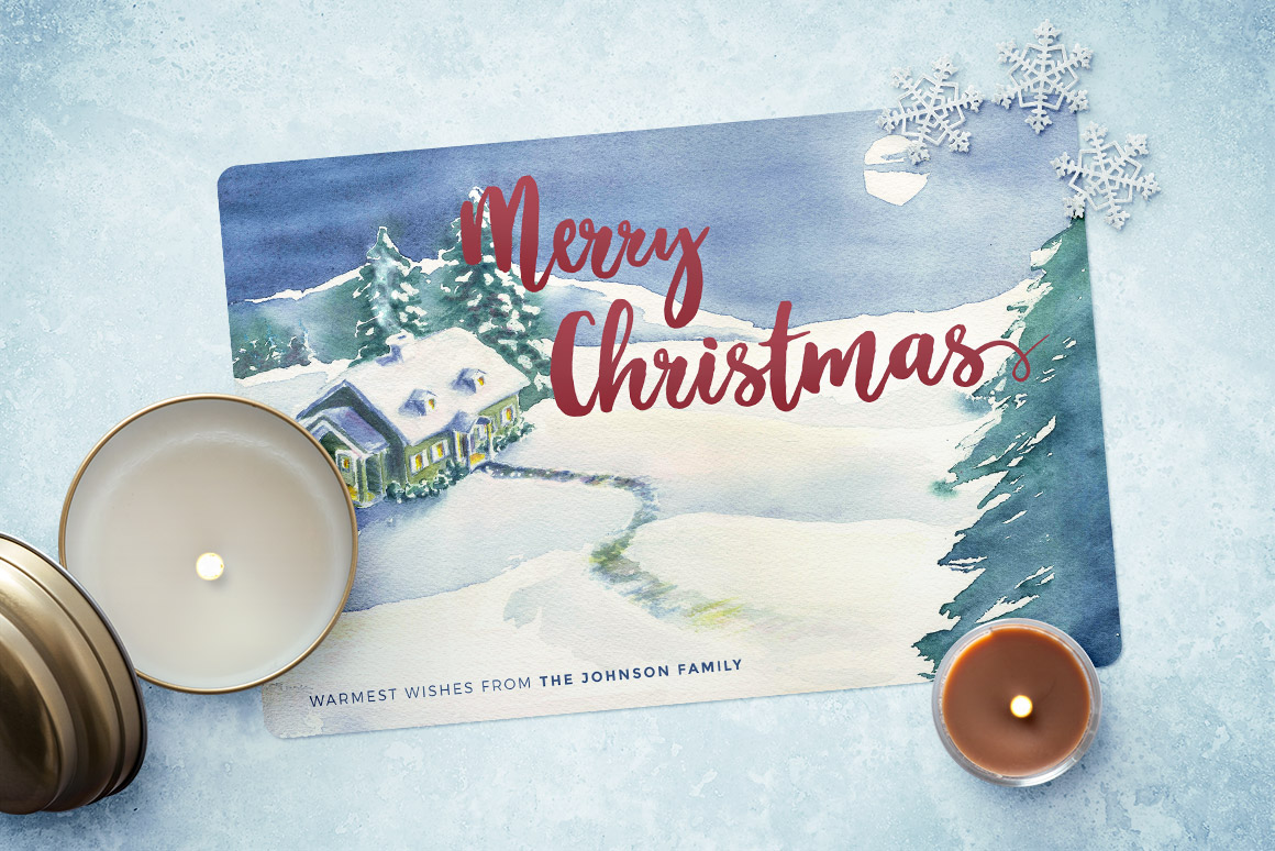 Watercolor Christmas Cards.Watercolor Christmas Card Template 4 Design Panoply