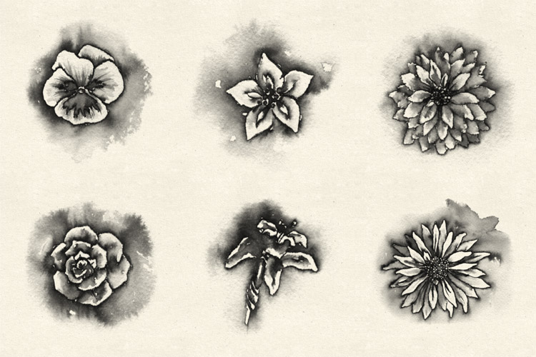 Watercolor Flowers And Paint Brushes: Watercolor Flowers Brush Pack 1