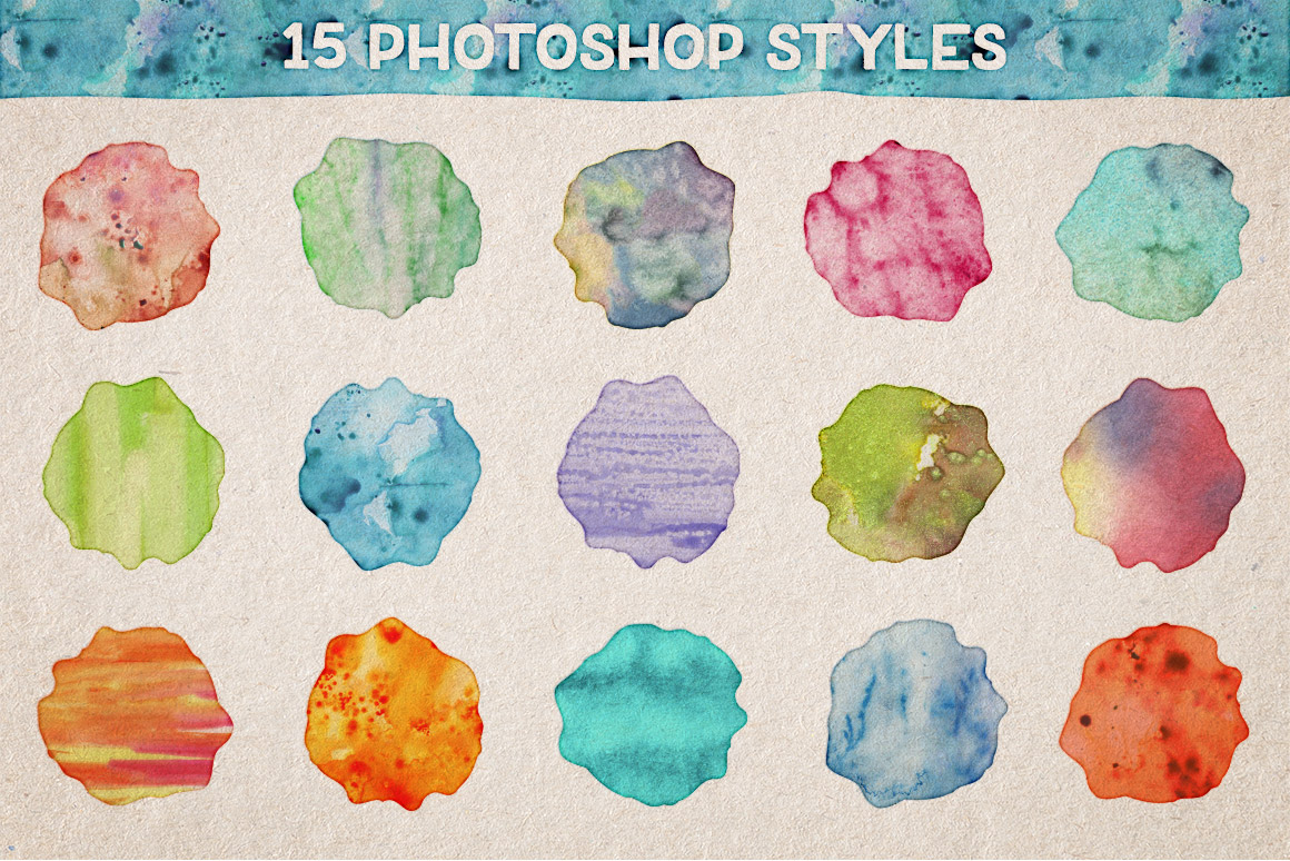 Watercolor Photoshop Styles Volume 1 | Design Panoply