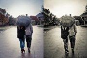 Couple with Umbrella Walking in the Rain