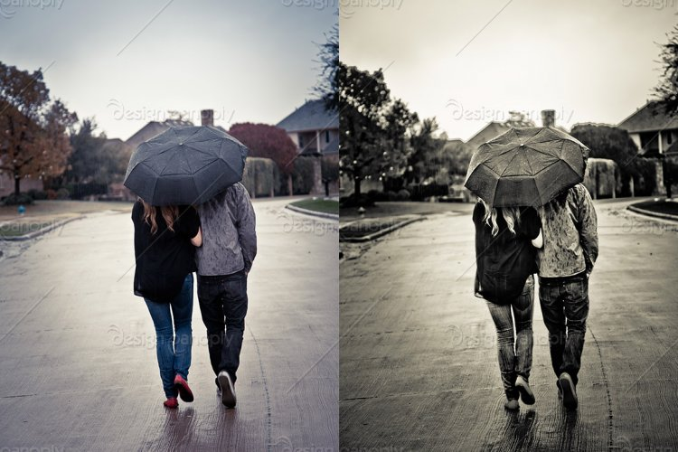Couple with Umbrella Walking in the Rain
