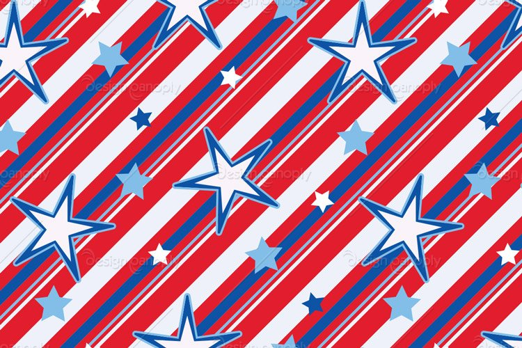 3 Seamless Vector Stars and Stripes Pattern