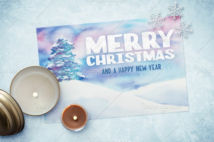 Watercolor Christmas Card Template 2