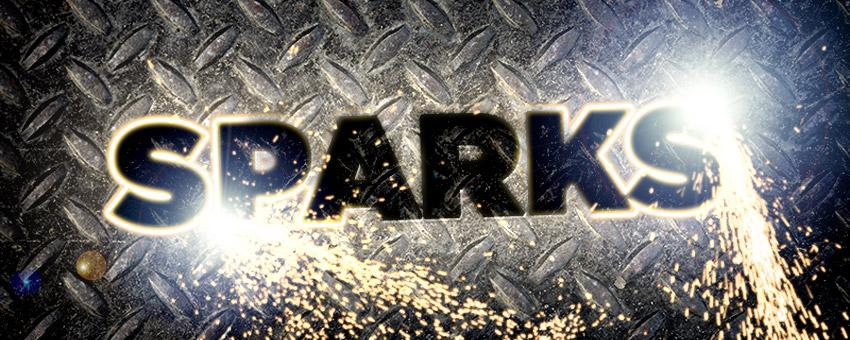 Plasma Cut Text With Shooting Sparks